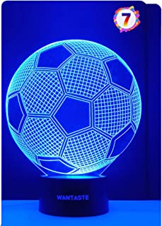 WANTASTE 3D Soccer Ball Lamp Gifts for Boys Girls Room, Night Light Toys Bedside Decor Gifts for Kids Baby Birthday, 7 Colors Changing Nightlight with Smart Control