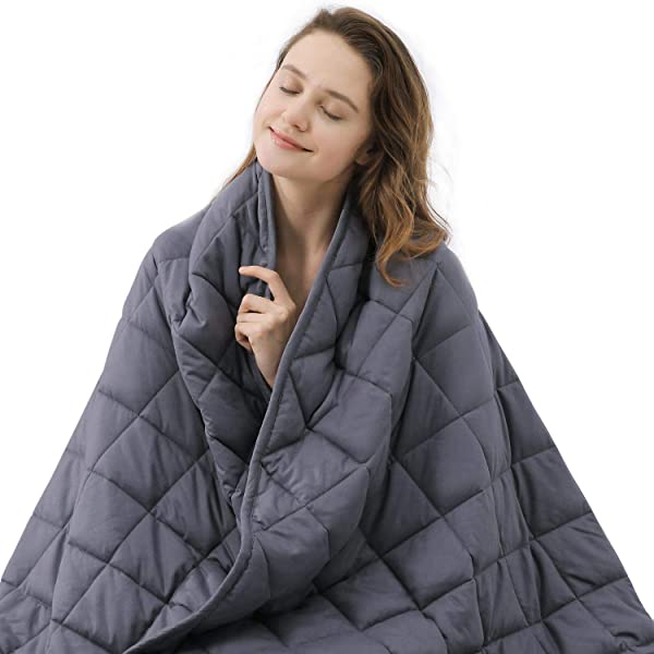 ZZZNEST Weighted Blanket Adult 21 Lbs 60 X80 Queen Size Heavy Blanket For Improving Sleep Premium Breathable Cotton With Glass Beads