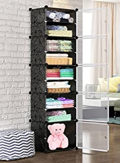 Oumffy DIY Plastic 10 Shelve Baby Wardrobe, Foldable, Collapsible Fabric Wardrobe Organizer for Clothes (10-Shelve-Double-...