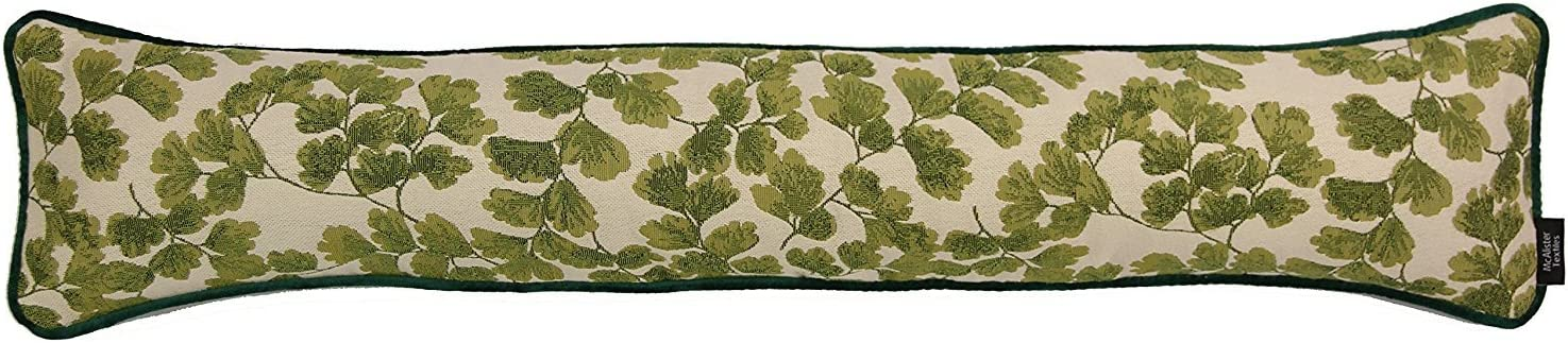 """7x35/"""" Green Leaf Floral Pattern Designer with Piped Edging Filled Draft Stopper 18 x 90cm McAlister Textiles Maidenhead Fern Draught Excluder"""