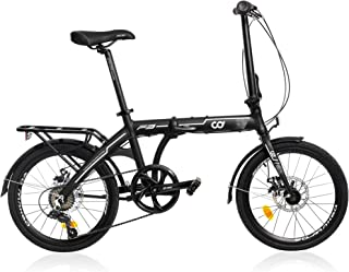 CyclingDeal Folding Bike Foldable Bicycle Shimano 7 Speed Aluminium 20-inch Wheels Easy Folding City Bicycle with Disc Bra...