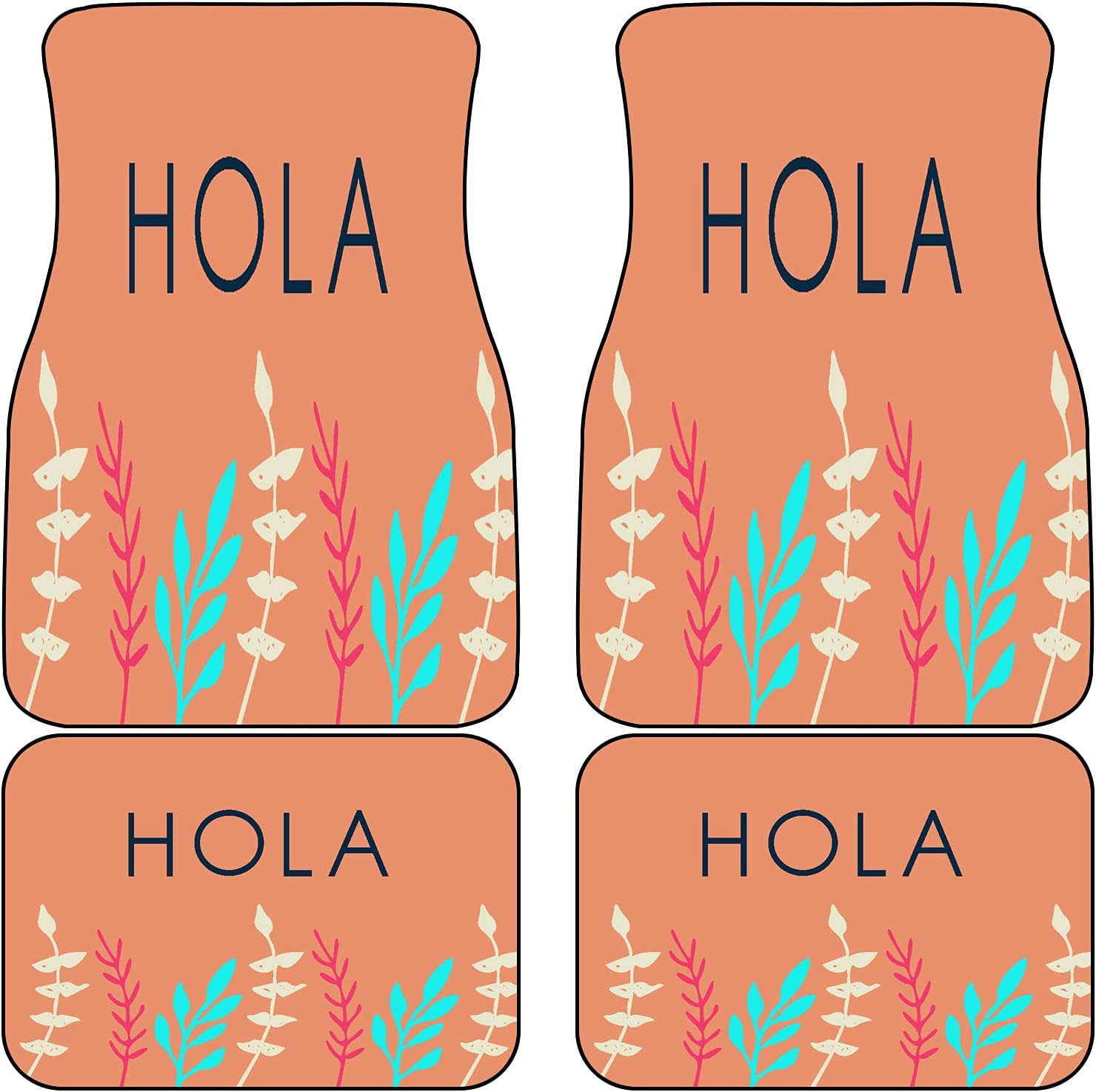 VINISATH Front Houston Mall Rear Car Mats Ranking integrated 1st place Set Printed of Decorative Hola 4