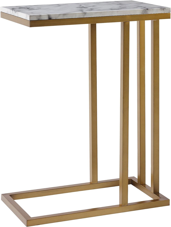 Versanora - Marmo C Shape Table - Faux Marble Brass