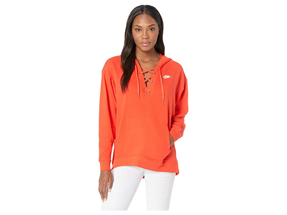 Nike Club Lace-Up Hoodie (Habanero Red/Habanero Red/White) Women
