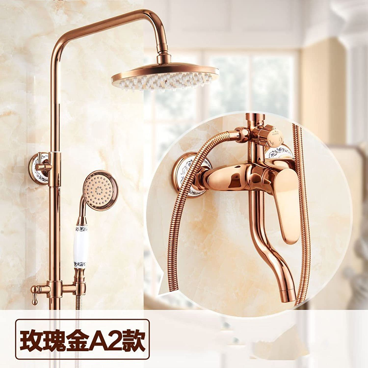 ETERNAL QUALITY Bathroom Sink Basin Tap Brass Mixer Tap Washroom Mixer Faucet pink gold shower full copper cold-hot water tap to redate the sprinkler bath lift shower B K