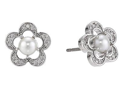 Kate Spade New York Jeweled Stencil Scallops Studs Earrings (Cream/Silver) Earring