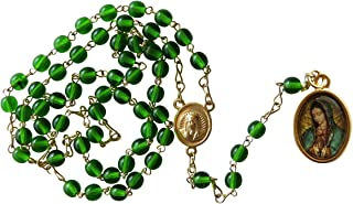 Green Our Lady of Guadalupe Rosary with Medal Rosario De La Virgen De Guadalupe