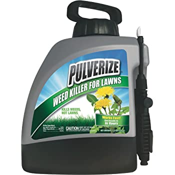 Pulverize Weed Killer Spray for Lawns - Safe on Grass - Fast Acting, Non-Staining Weed Killer - 1.33 Gallon Weed Sprayer