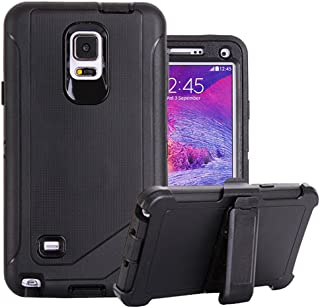 Galaxy Note 4 Holster Case, Harsel Defender Series Heavy Duty Shockproof Impact Dustproof Full Body Military Protective with Belt Clip Built-in Screen Protector Case for Galaxy Note 4 - Black