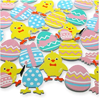 Assorted Easter Holiday Colorful Self Adhesive Foam Craft Sticker Kit - Easter Eggs and Baby Chicks - Holiday Decoration Set