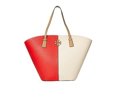 Tory Burch McGraw Color-Block Shopper Tote (Brilliant Red/New Cream) Handbags