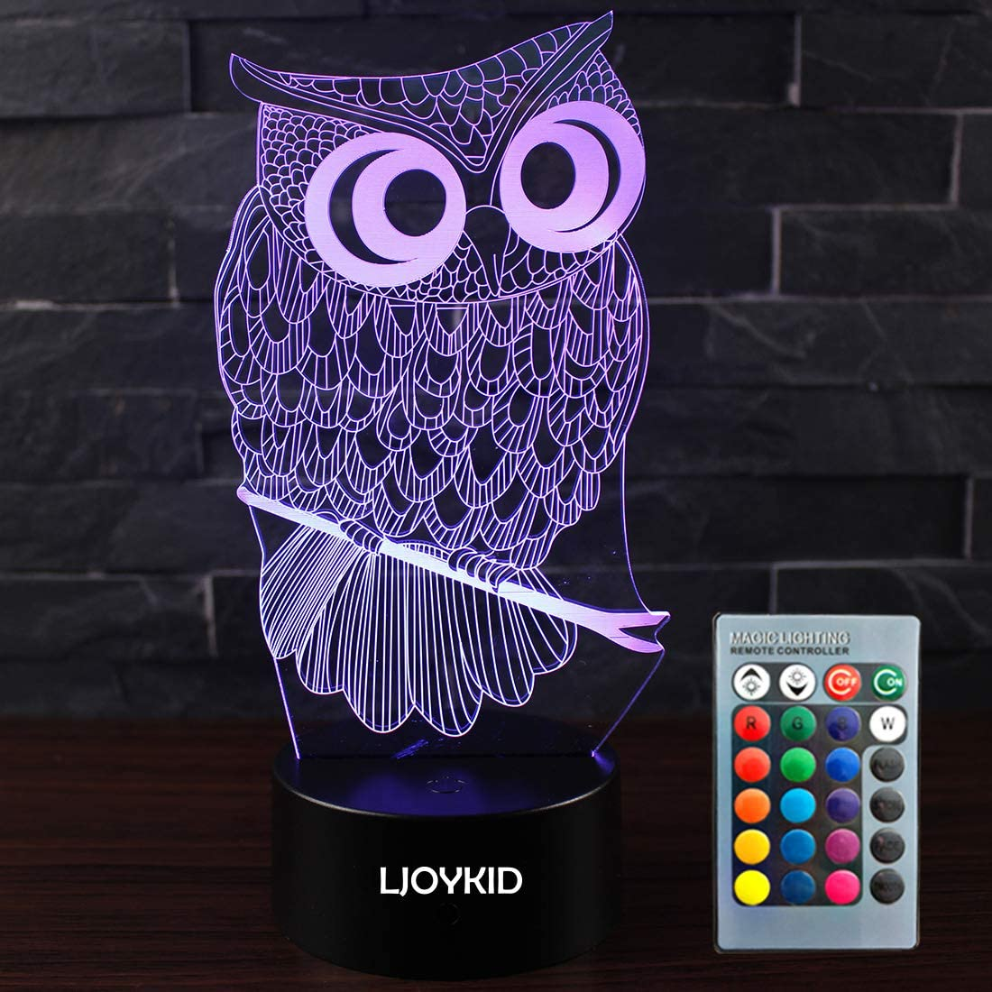 LJOYKID Owl 3D Led Night Light Touch New life 7 shop - Optical Colors Illusion
