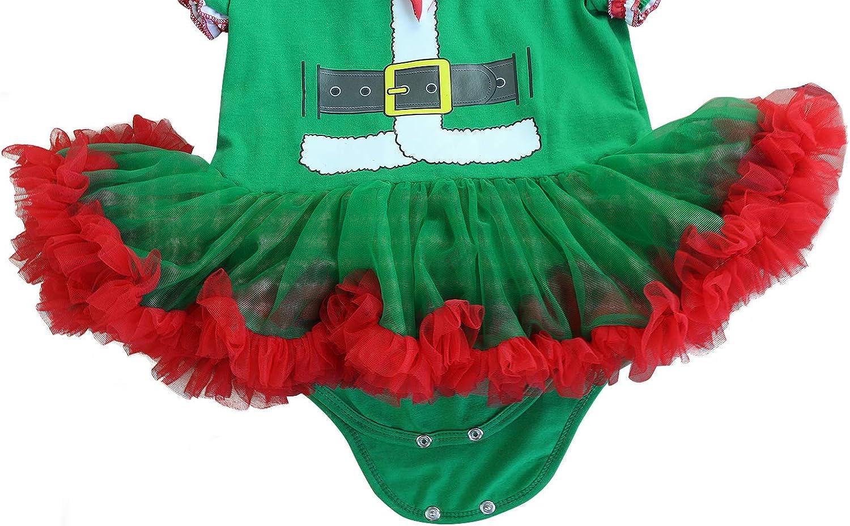 FANCYINN Baby M/ädchen Weihnachten Tutu T/üll Kleid Weihnachten Party Tutu Kleid Strampler mit Stirnband Beinw/ärmer /& Schuhe 4St.0-24 Monate