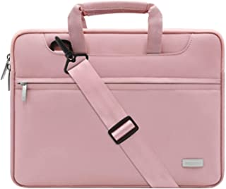 MOSISO Funda Protectora Compatible con 2019 MacBook Pro 16 A2141/15-15.6 MacBook Pro/Surface DELL HP Acer ASUS de Portátil, Bolsa de Hombro Blanda Maletín Bandolera con Cinturón de Carro, Rosa