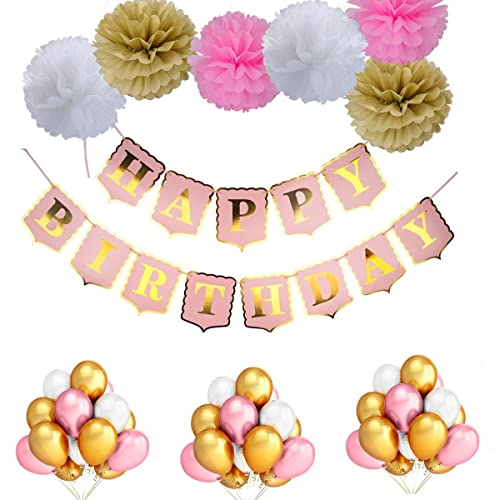 LeeSky 50Pcs Gold Pink White Color Latex Party BalloonsHappy Birthday Banner
