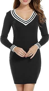 Women's V-Neck Long Sleeve Basic Knit Sweater Bodycon Mini Dress