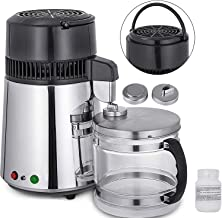 Mophorn Countertop Machine Stainless Steel Home Pure Purifier Filter 750W Water Distillation Kit with Connection Bottle Food-Grade Outlet Glass Container