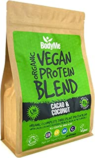 BodyMe Organic Vegan Protein Powder Blend | Cacao Coconut | 1kg | UNSWEETENED | Low Carb | With 3 Plant Based Vegan Protei...