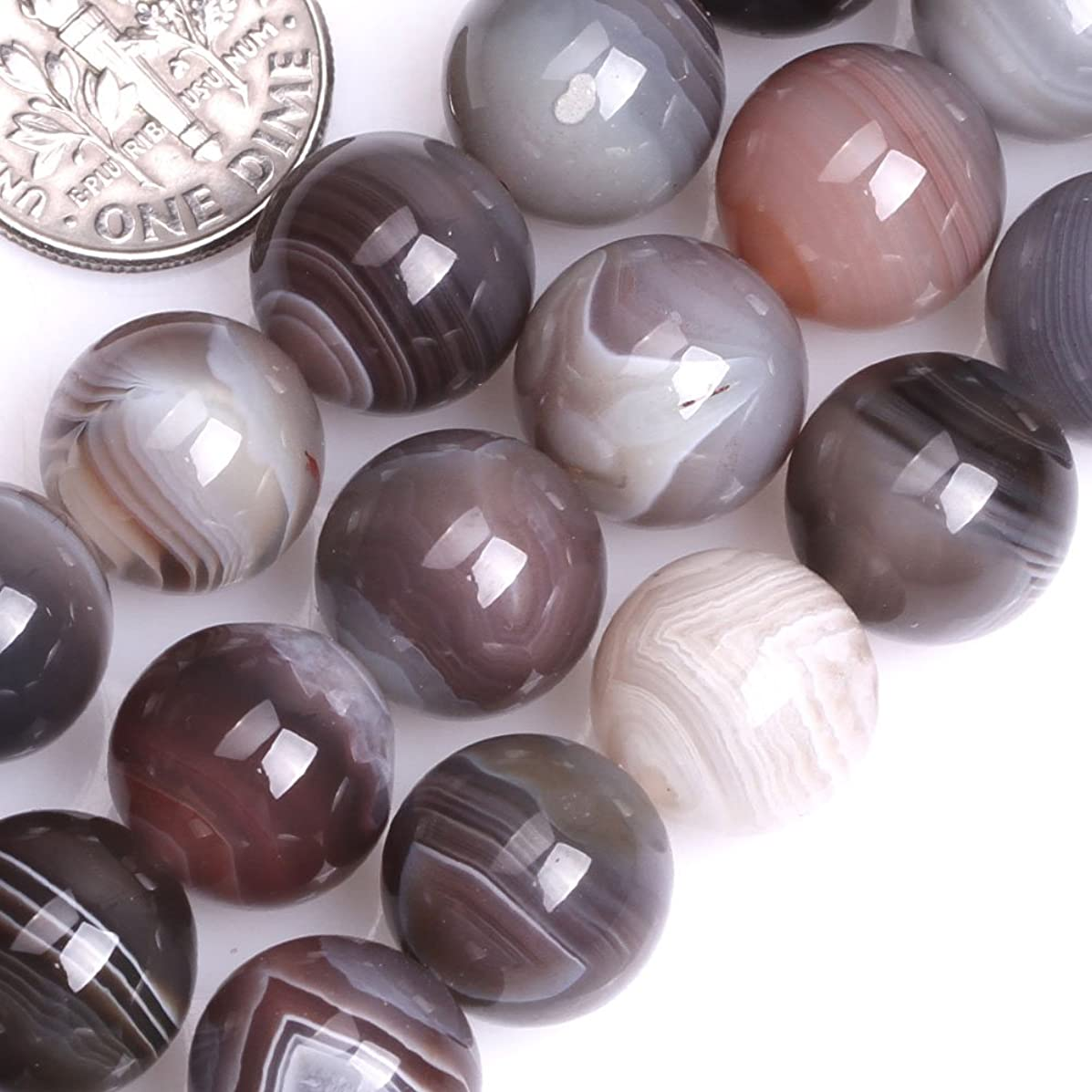 GEM-inside Botswana Agate Genstone Loose Beads Natural 12mm Round Crystal Energy Stone Power For Jewelry Making 15