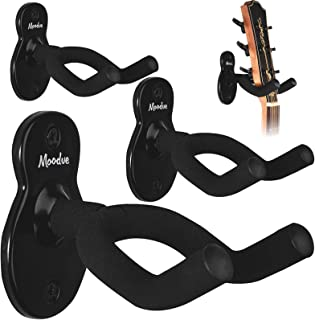 Guitar Wall Mount Hanger 4-Pack, Moodve Guitar-Shaped Metal Guitar wall Hanger, Black Guitar Holder Stand For Bass Electri...