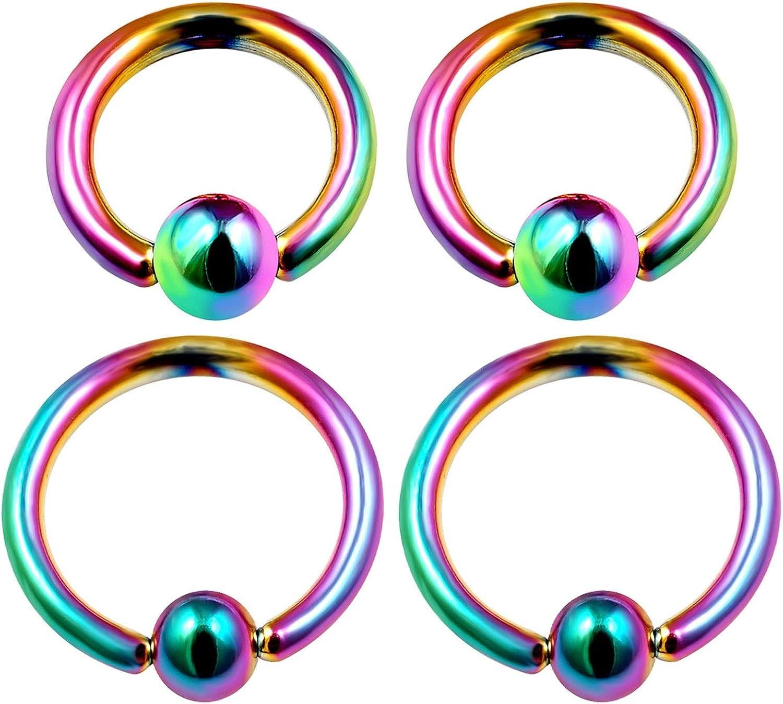 4PCS Surgical Steel Captive Hoop Earrings 16 Gauge 6mm 8mm 3mm Ball Rook Earrings Eyebrow Piercing Jewelry See More Colors