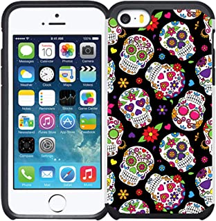iPhone SE Case, iPhone 5S, iPhone 5 Case, Dual Layer Shock Proof Bumper Protective Phone Cover - Sugar Skull