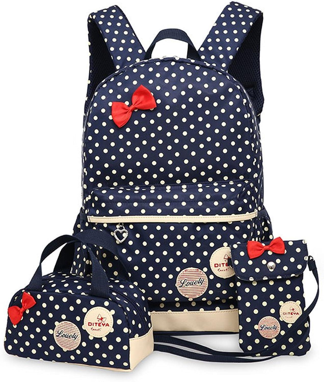 Fanci 3Pcs Girls Polka Dot Kids School Backpack Set Bowknot Princess Style Casual Daypack
