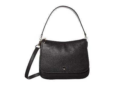Kate Spade New York Polly Medium Convertible Flap Shoulder Bag (Black) Bags