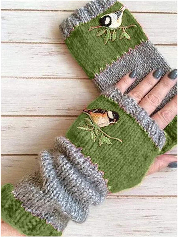 Jiaye Gloves Women Birds Embroidery Gloves Knitted Fingerless Plus Velvet Color Block Splice Mittens Womens Gloves Gloves (Color : Green)