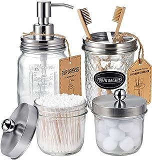 Mason Jar Bathroom Accessories Set(4 Pack) - Lotion Soap Dispenser&Qtip Holder Set&Toothbrush Holder-Rustic Farmhouse Deco...
