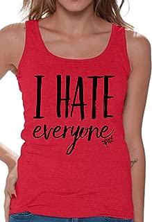 Awkwardstyles Women's I Hate Everyone Tank Top Loner Tank + Bookmark