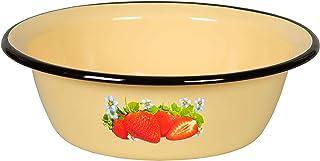 3.7-qt. (3.5 L) Enamelware Basin Strawberry Cream Enamel Bowl - Round Enamel Basin