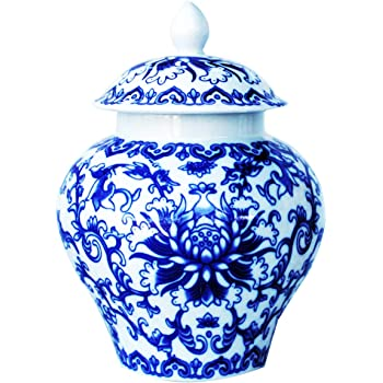 Ancient Chinese Style Blue and White Porcelain Helmet-shaped Temple Jar. Medium