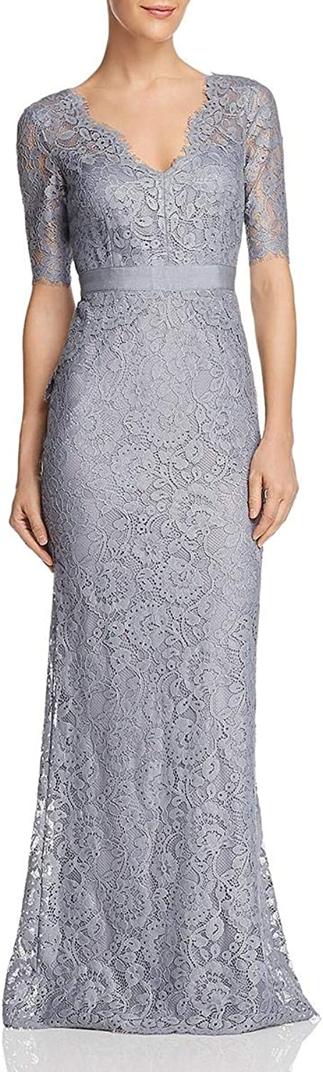Adrianna Papell Womens Lace VNeck Evening Dress
