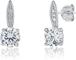 Features 2 dazzling round-cut cubic zirconia stones each measuring 5mm, as well as 6 round-cut stones each measuring 1.2mm.