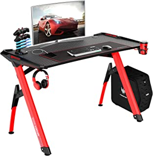 VIT 47 Inch Ergonomic Gaming Desk with RGB LED Lights, Y-Shaped Office PC Computer Desk with Large Mouse Pad, Gamer Tables Pro with USB Gaming Handle Rack, Stand Cup Holder&Headphone Hook (47 in RED)