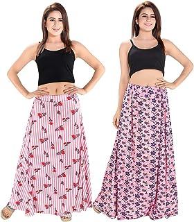 TUCUTE® Women's Sarina Printed Long Skirt Bottom (Free Size) (Pack of 2 Pcs) Smart Combo.