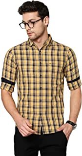 Dennis Lingo Men's Checkered Teal Blue Slim Fit Cotton Casual Shirt