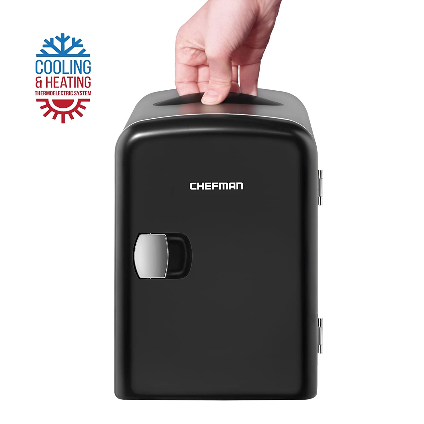 Chefman Mini Portable Compact Personal Fridge, Cools & Heats, 4 Liter Capacity, Chills 6 12oz cans, 100% Freon-Free & Eco Friendly, Includes Plugs for Home Outlet & 12V Car Charger - Black