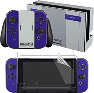 eXtremeRate Super NES SNES Edition Skin Sticker Decal for Nintendo Switch with Screen Protector (Console & Joy-con & Dock & Grip)