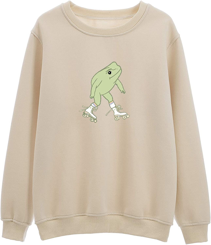 KEEVICI Cool Roller Skating Frog Graphic Cotton Crewneck Sweatshirt Women Aesthetic