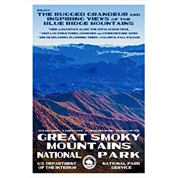 Amazon Com Great Smoky Mountains National Park Poster Original Artwork 13 X 19 By Rob Decker Wpa Style Posters Prints