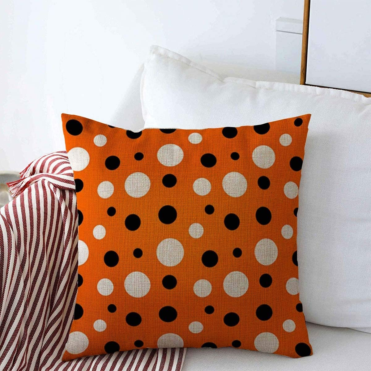 Staroapr Throw Pillow Covers Colored Abstract Orange Black White Modern Polka Dot Art Amp Pattern Children Circle Circular Classic Cushion Pillows Linen Cases For Winter Home Decor 18 X 18 Home