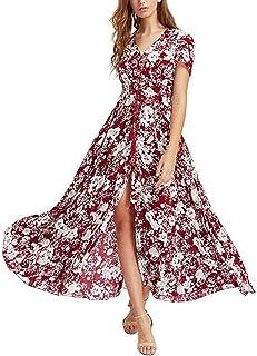 dae8d8ab4310c3 ishine Sommerkleid Damen V-Ausschnitt A-Linie Kleid Lang Strandkleid  Maxikleid mit Blumen Abendkleid