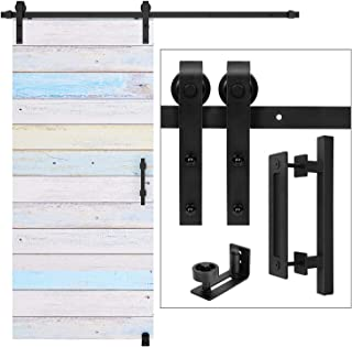 EaseLife 6 FT Heavy Duty Sliding Barn Door Hardware Track Kit Whole Set Include 12'' Handle & 6'' Latch Hook & Floor Guide,Sturdy,Slide Quiet,Fit 30