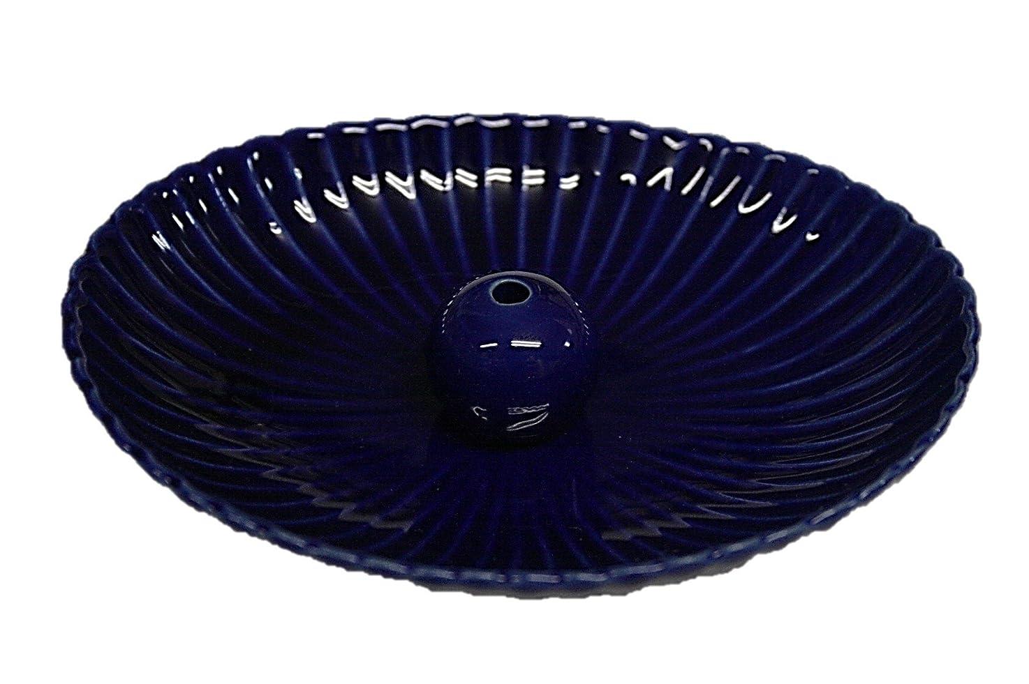 交差点同盟市町村瑠璃色 楕円皿 日本製 製造?直売 お香立て お香たて 陶器 少し深めな香皿