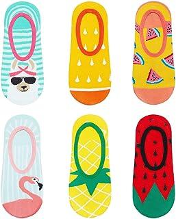Calcetines de Color para Mujer Invisibles | Talla 35-40 | Paquete de 3 | Calcetines Algodón Cortos con Dibujos Graciosos | Perfectos para Zapatos y Botas