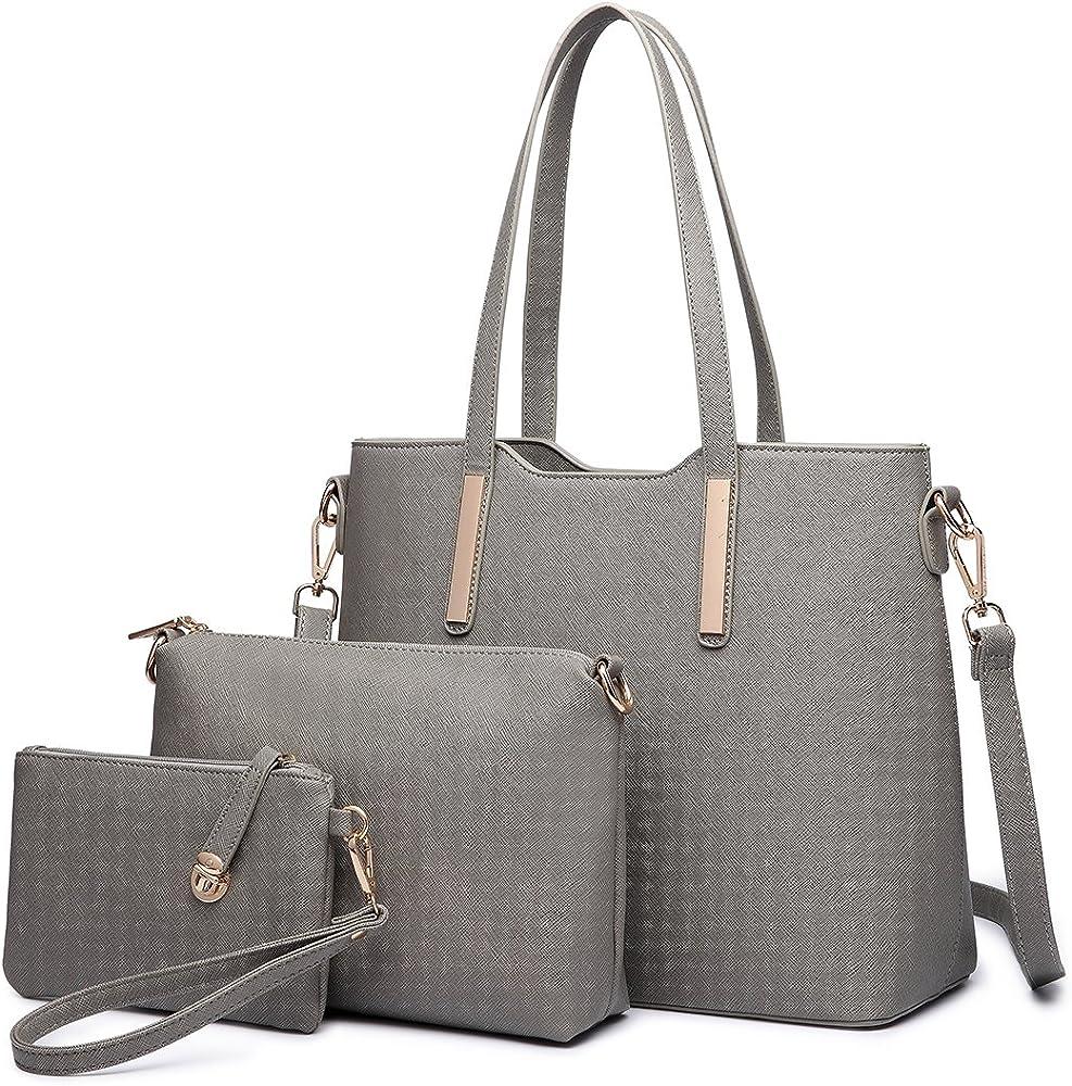 Miss lulu, borsa a mano/tracolla per donna,borsa piu` accessori 3 pezzi, in ecopelle, grigia LT6648