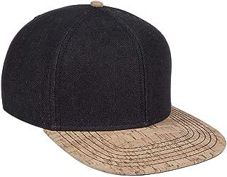Denim Cork Square Flat Visor SNAP 6 Panel Pro Style Snapback Hat