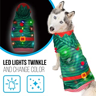 K9 Casuals Dog Christmas Costume with Lights | Light Up Christmas Dog Clothes | Dog Christmas Outfit